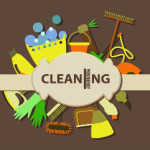 Houston office cleaning companies multi colored illustration of cleaning supplies