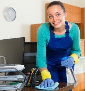 Janitorial service office cleaning worker